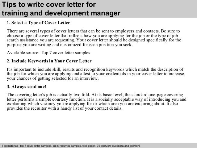 training and development manager cover letter      tips to write cover letter