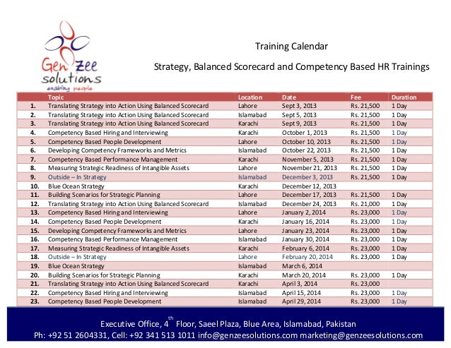 Training calendar genzee solution 2013 2014