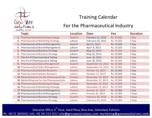 Training calendar gz Pharmaceutical Business 2013 2014
