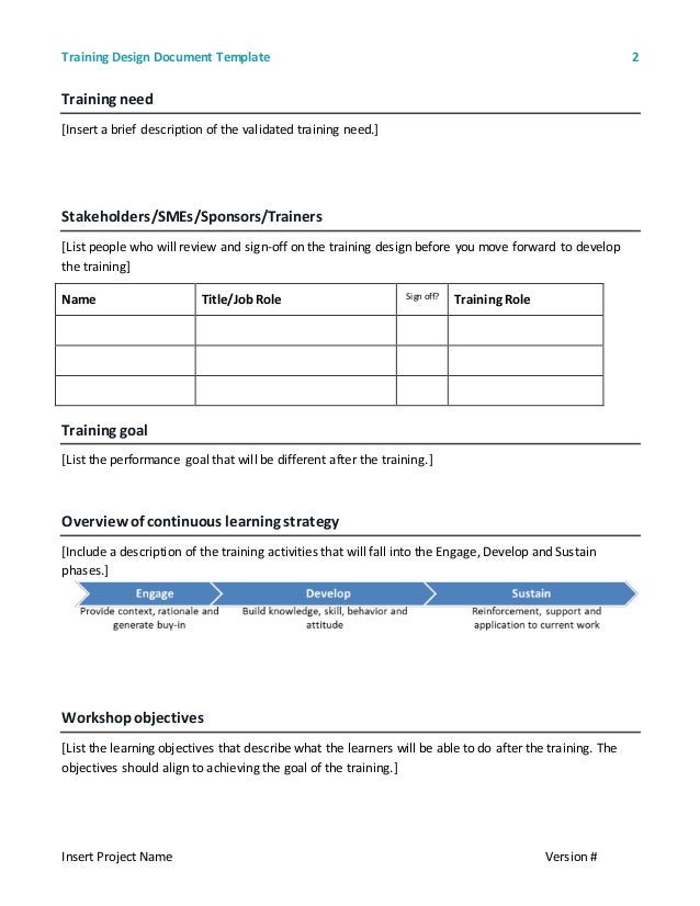 design review document template - training design document template 2