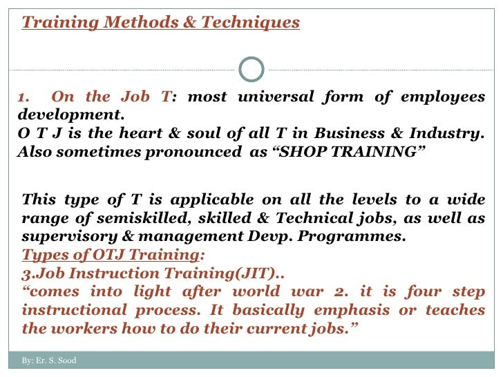 Job Training Methods Training Methods Techniques