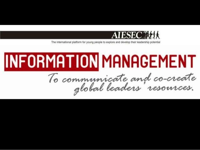 Training document information management aiesec delhi university