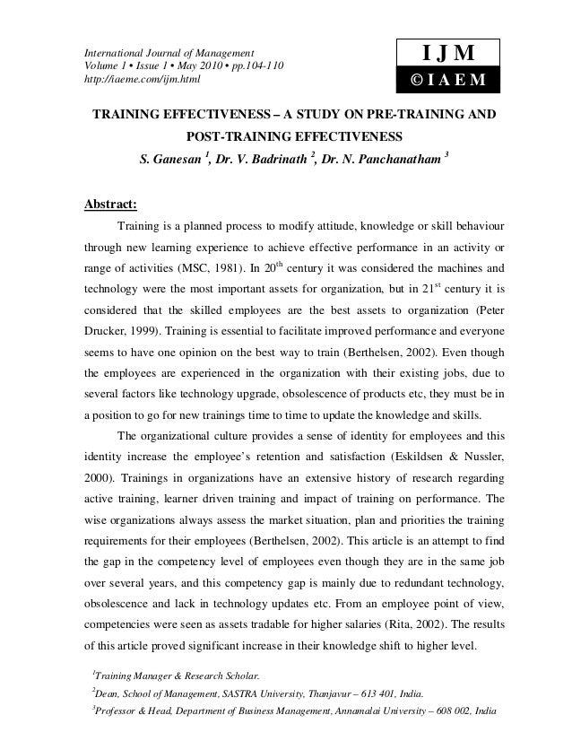 Training effectiveness – a study on pre training and post-training effectiveness
