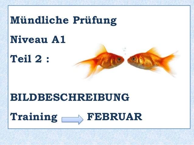 Mündliche Prüfung Niveau A1 Teil 2 : BILDBESCHREIBUNG Training FEBRUAR