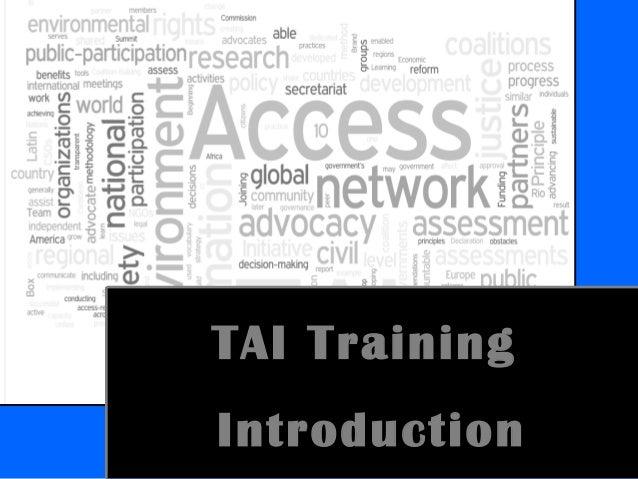 TAI Training Introduction