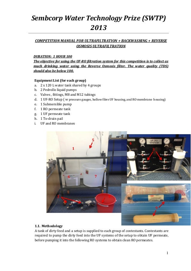 Sembcorp Water Technology Prize (SWTP)                2013 COMPETITION MANUAL FOR ULTRAFILTRATION + BACKWASHING + REVERSE ...