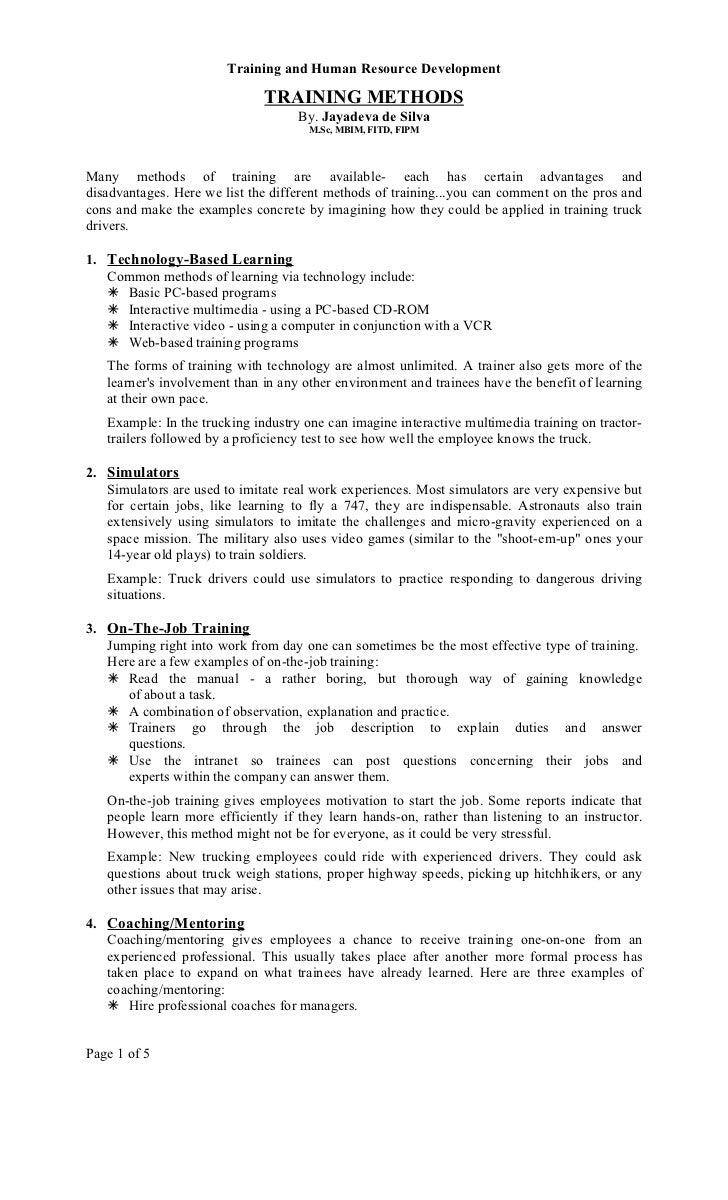 Training methods by Mr. jayadeva de silva