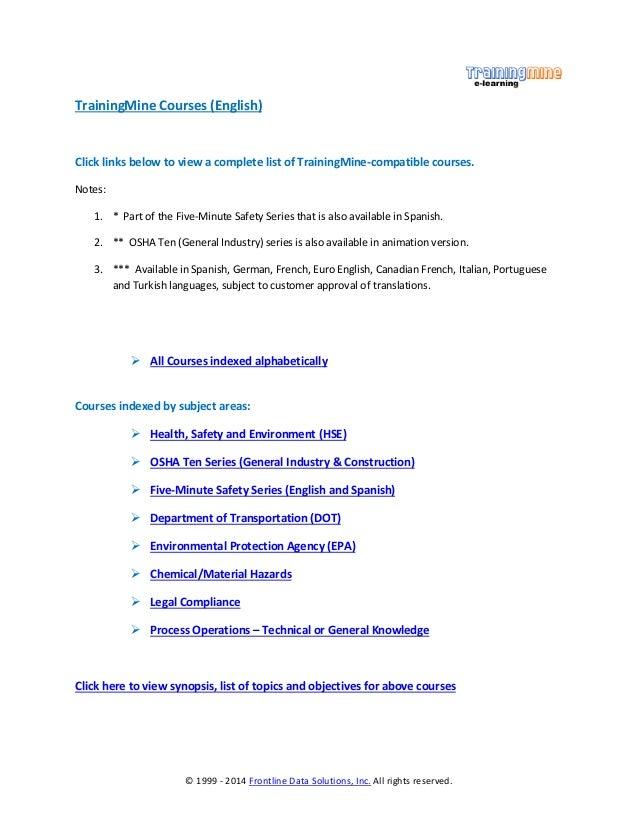 TrainingMine Course Library Index