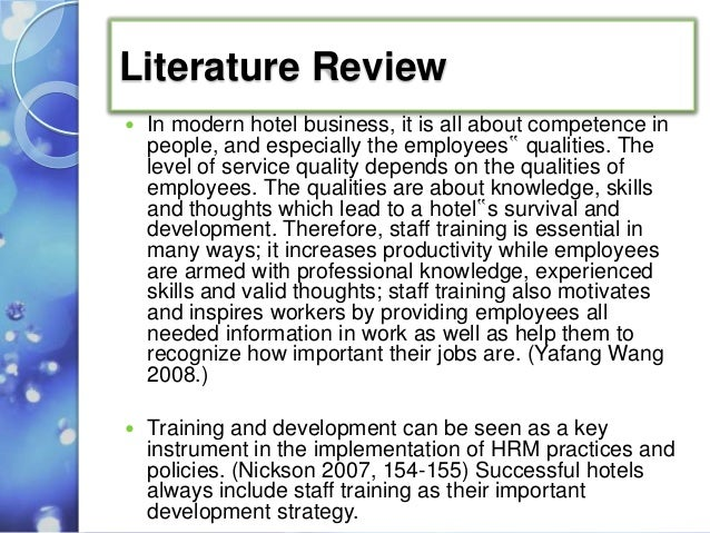 Literature review on training and development