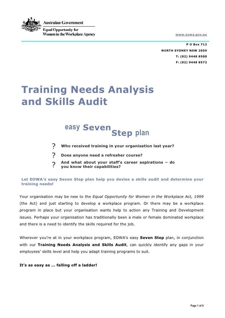 Training Needs Analysis And Skills Audit Word 2000 110