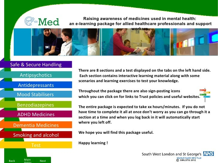 Raising awareness of medicines used in mental health:                           an e-learning package for allied healthcar...
