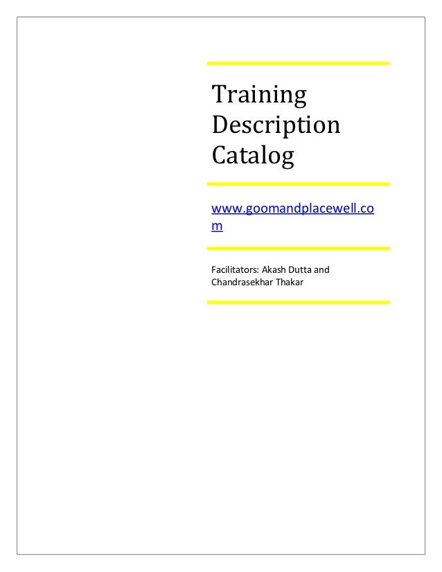 Training Program Description Catalog
