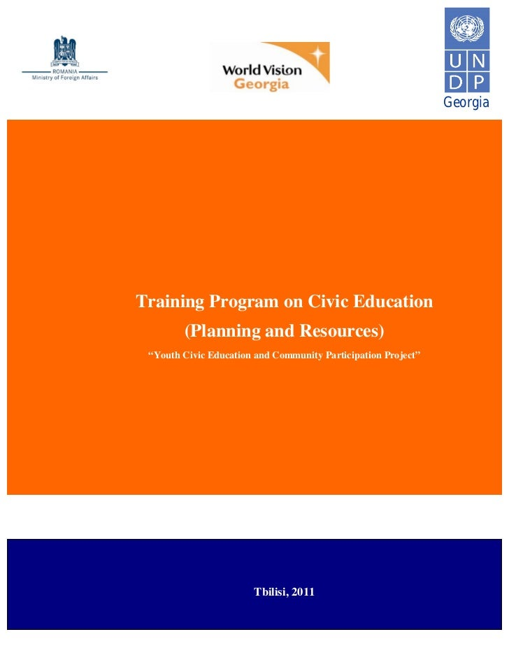 """GeorgiaTraining Program on Civic Education        (Planning and Resources) """"Youth Civic Education and Community Participat..."""