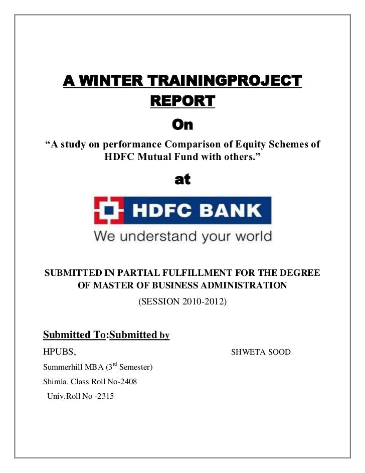 """A WINTER TRAININGPROJECT              REPORT                                    On""""A study on performance Comparison of Eq..."""