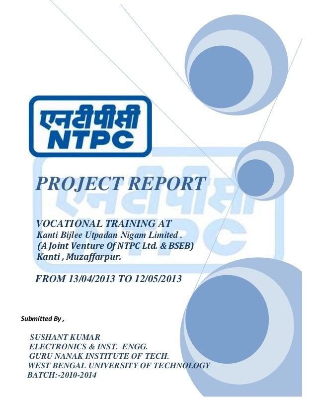 SUMMER Training report AT NTPC FOR INSTRUMENTATION (kbunl)