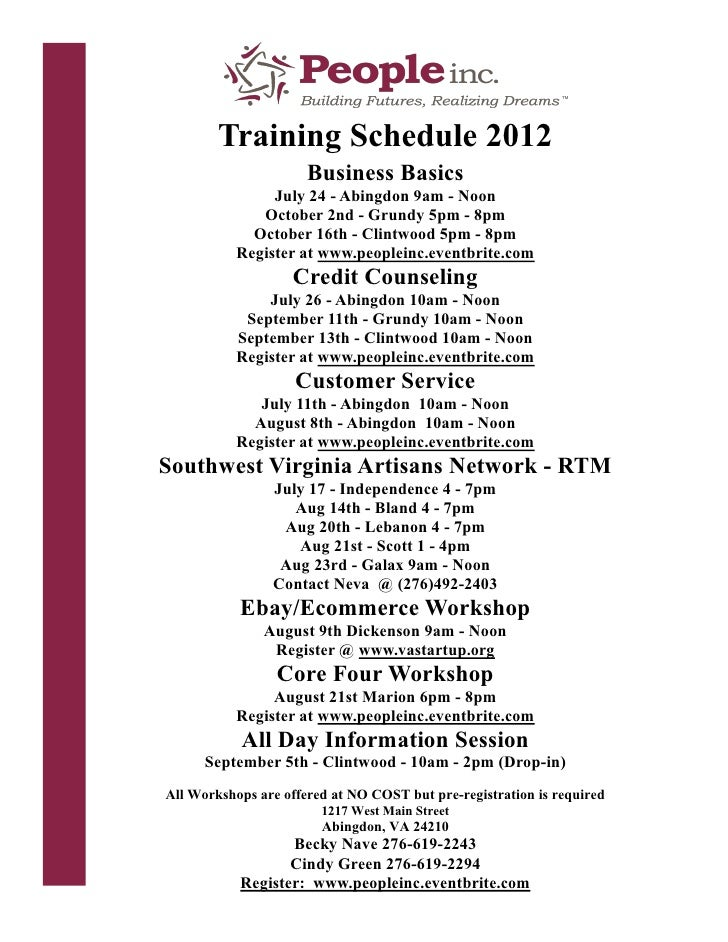 Training Schedule 2012                      Business Basics                July 24 - Abingdon 9am - Noon              Octo...