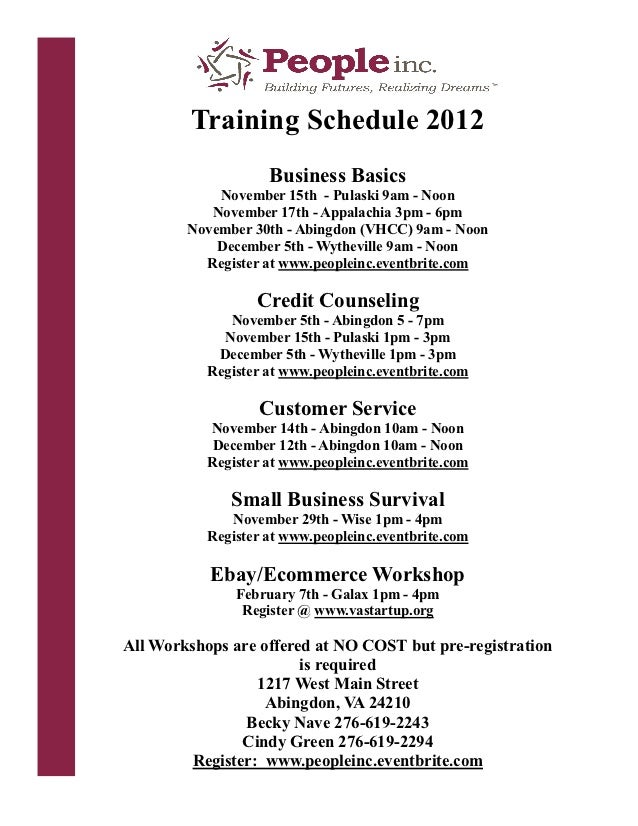 People Inc Financial Services NO COST Workshops