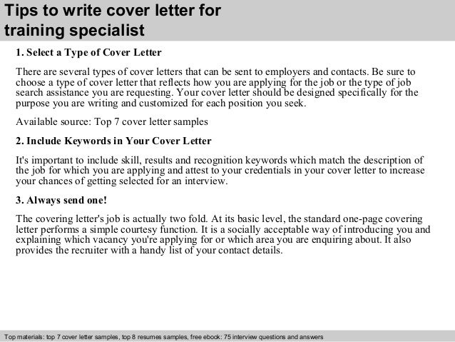Sample cover letter for training specialist