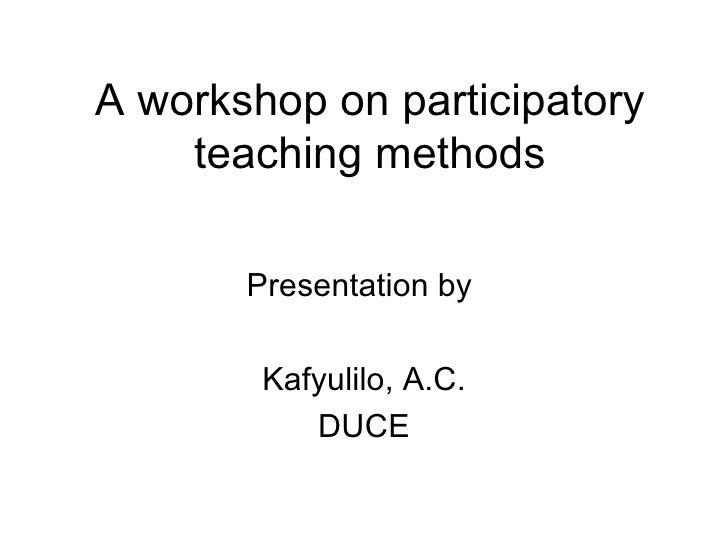 Training workshop for teachers on participatory teaching methods