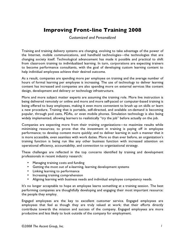 Improving Frontline Training Practices