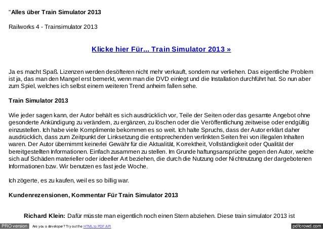 """Alles über Train Simulator 2013  Railworks 4 - Trainsimulator 2013                                                  Klick..."