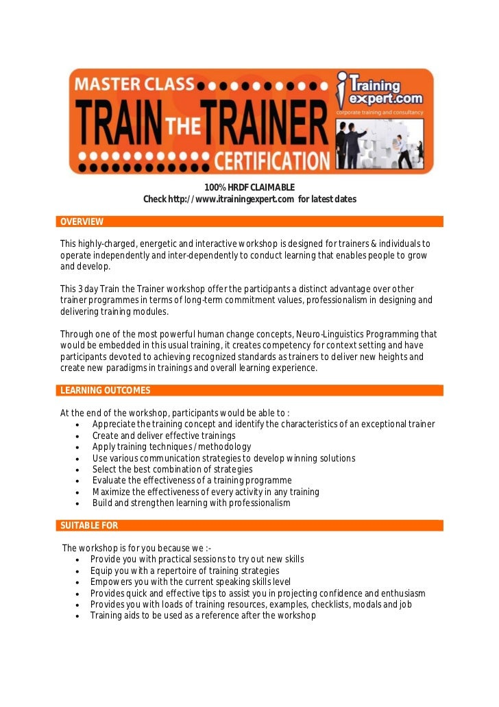 Train the trainer public program course brochure 2012 by i trainingexpert