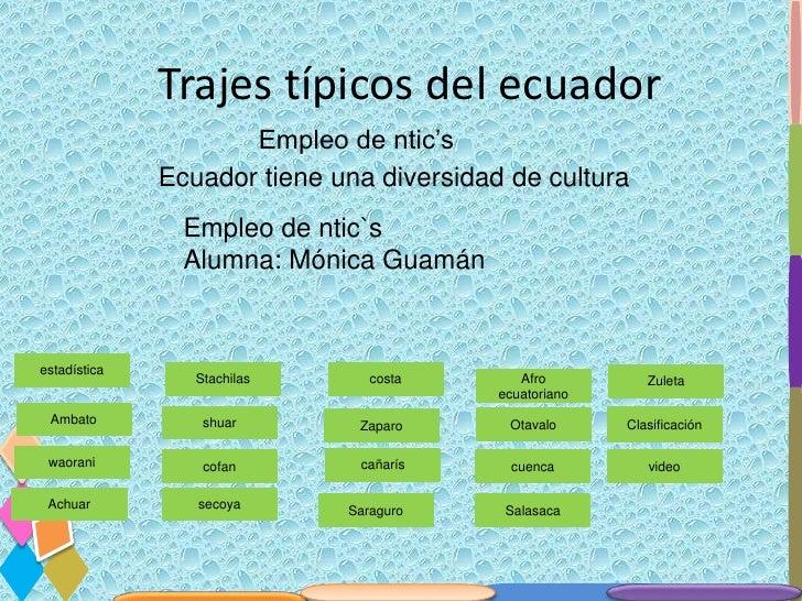 Trajes típicos del ecuador                     Empleo de ntic's              Ecuador tiene una diversidad de cultura      ...