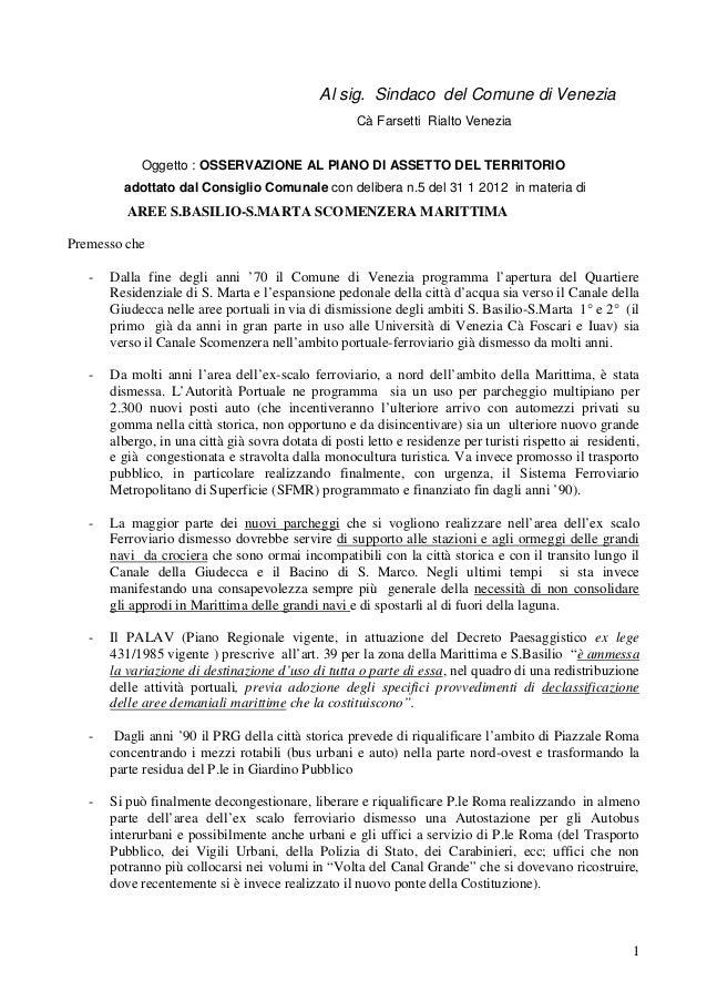 Al sig. Sindaco del Comune di Venezia                                                     Cà Farsetti Rialto Venezia      ...