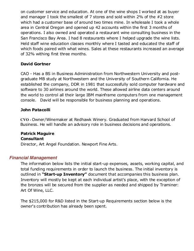 Wine store business plan
