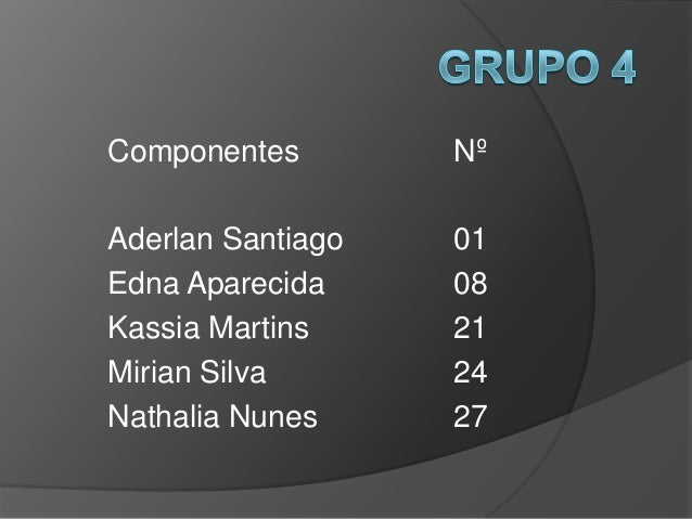 Componentes        NºAderlan Santiago   01Edna Aparecida     08Kassia Martins     21Mirian Silva       24Nathalia Nunes   ...