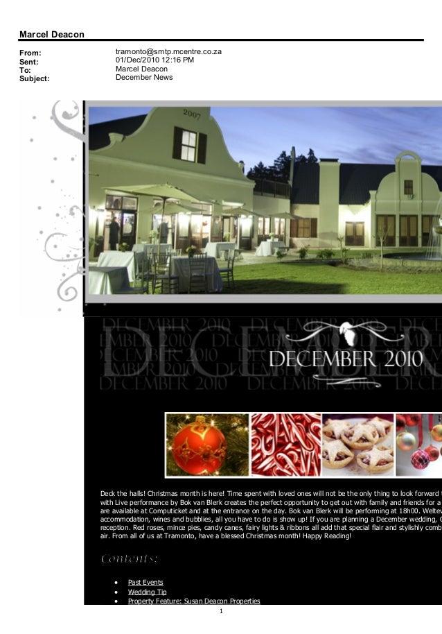 Tramonto December 2010 News