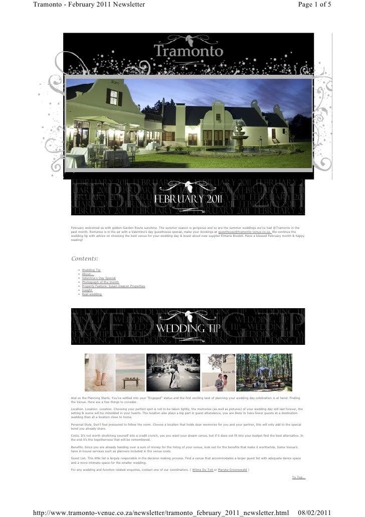 Tramonto February 2011 Newsletter