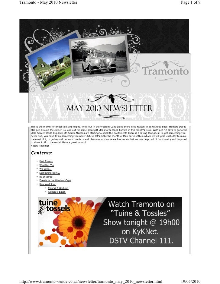 Tramonto news letter May 2010