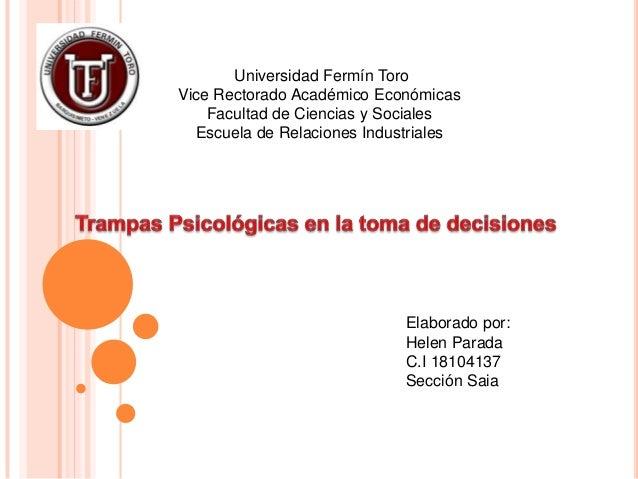 Universidad Fermín ToroVice Rectorado Académico Económicas    Facultad de Ciencias y Sociales  Escuela de Relaciones Indus...