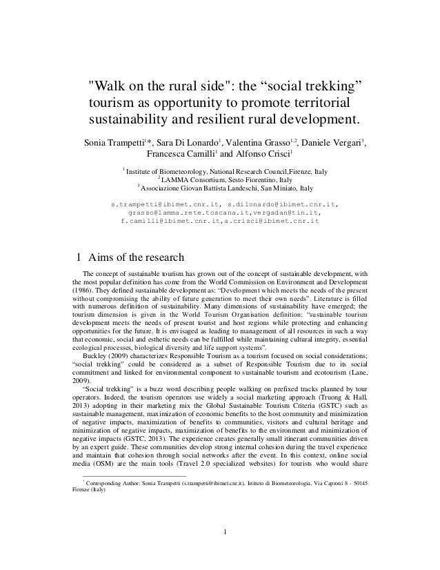 """1 """"Walk on the rural side"""": the """"social trekking"""" tourism as opportunity to promote territorial sustainability and resilie..."""