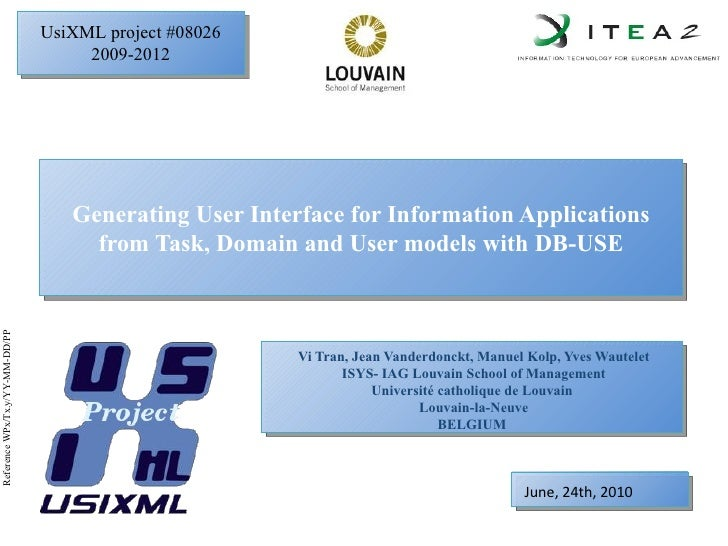 Generating User Interface for Information Applications from Task, Domain and User models with DB-USE
