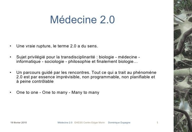 Médecine 2.0 et Trandisciplinarité