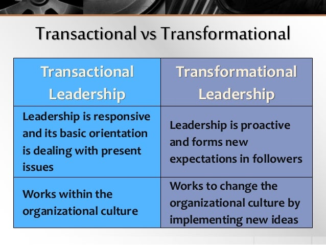 famous example of transactional leadership Transactional leadership, also known as managerial leadership, focuses on the role of supervision, organisation, and group performance transactional leadership is a style of leadership in which the leader.