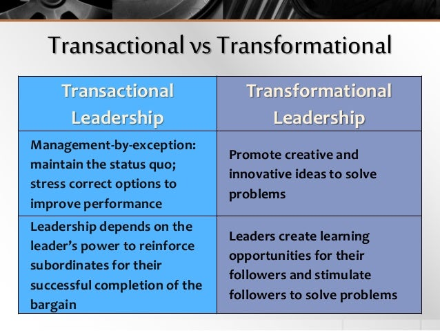 transactional leader and transformational leader essay We will write a custom essay sample on transformational leader specifically for you for only $1638 $139/page  is mostly new for most middle managers with a technical backgroundthe transition for a transactional manager into a transformational leader requires time to learn a new skill set, demonstrate new behaviours and embrace a new.