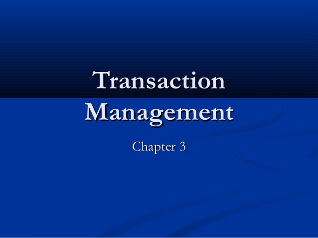 TransactionManagement   Chapter 3