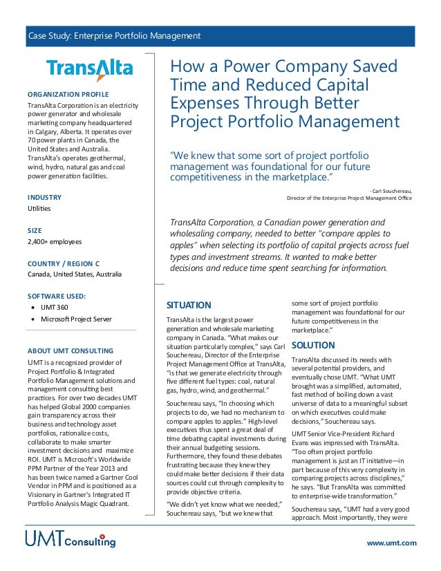 Transalta: How a Power Company Saved Time and Reduced Capital Expenses Through Better Project Portfolio Management