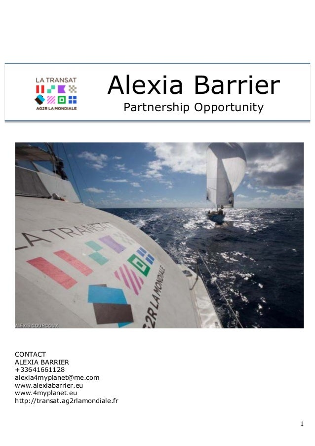 Partnership Opportunity on Transat ag2r 2014 with Alexia Barrier
