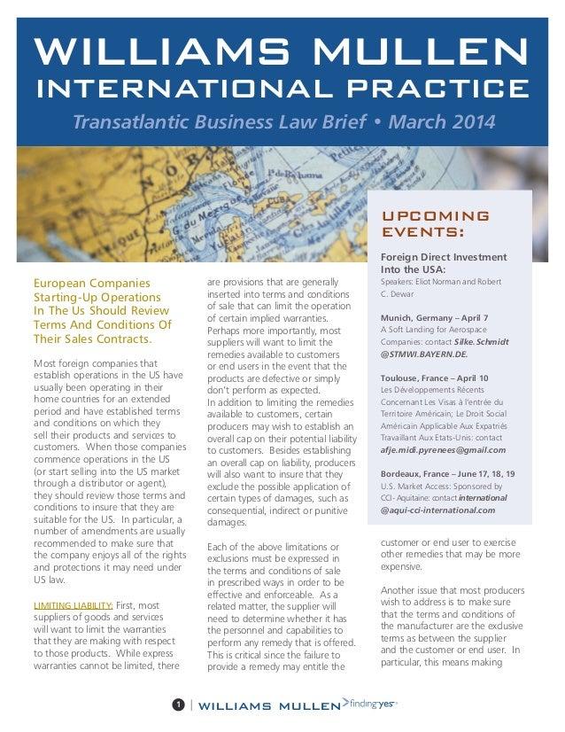 Transatlantic business brief march 2014