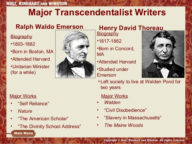 self reliance and transcendentalism and they relate modern Transcendentalism: essential essays of emerson & thoreau and millions of other  books are  a glossary and notes to help the modern reader appreciate details  that may otherwise be confusing or overlooked  pages with related products.