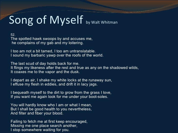 Day Poems  Walt Whitman Song of Myself