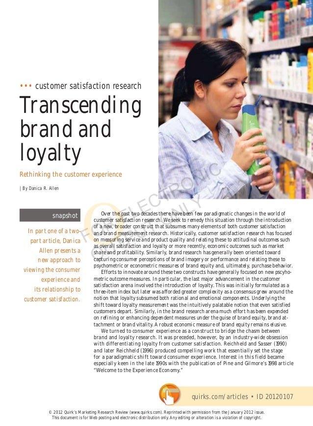 ••• customer satisfaction researchTranscendingbrand andloyalty                                              NICRethinking ...