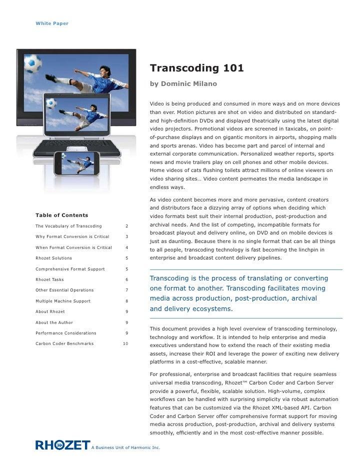 White Paper                                                           Transcoding 101                                     ...