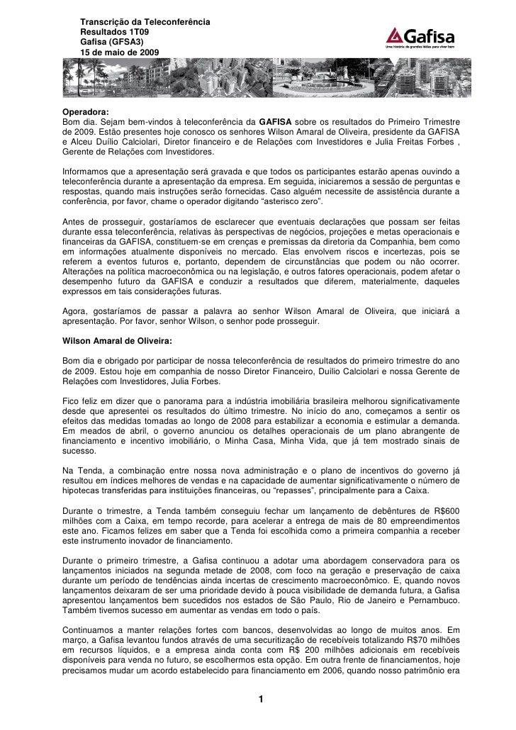 Transcrição da Teleconferência do 1T09