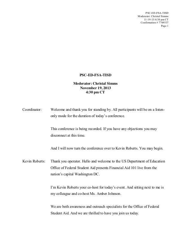 PSC-ED-FSA-TISD Moderator: Christal Simms 11-19-13/4:30 pm CT Confirmation # 7769537 Page 1  PSC-ED-FSA-TISD Moderator: Ch...