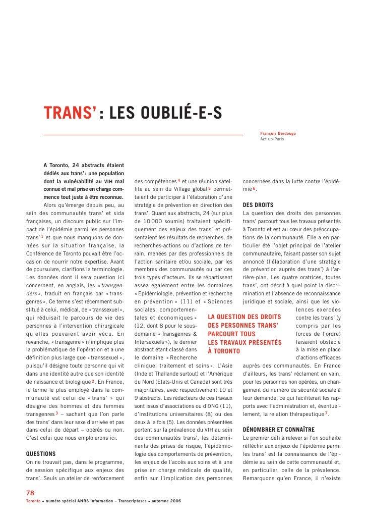 Trans : les oublié-e-s de la Conférence de Toronto